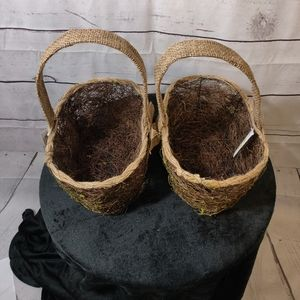 Set of 2 Baskets with Burlap Handles